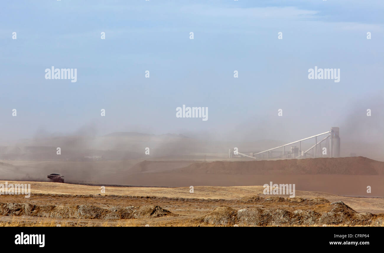 Dust Blows from Coal Mine in Wyoming's Powder River Basin - Stock Image