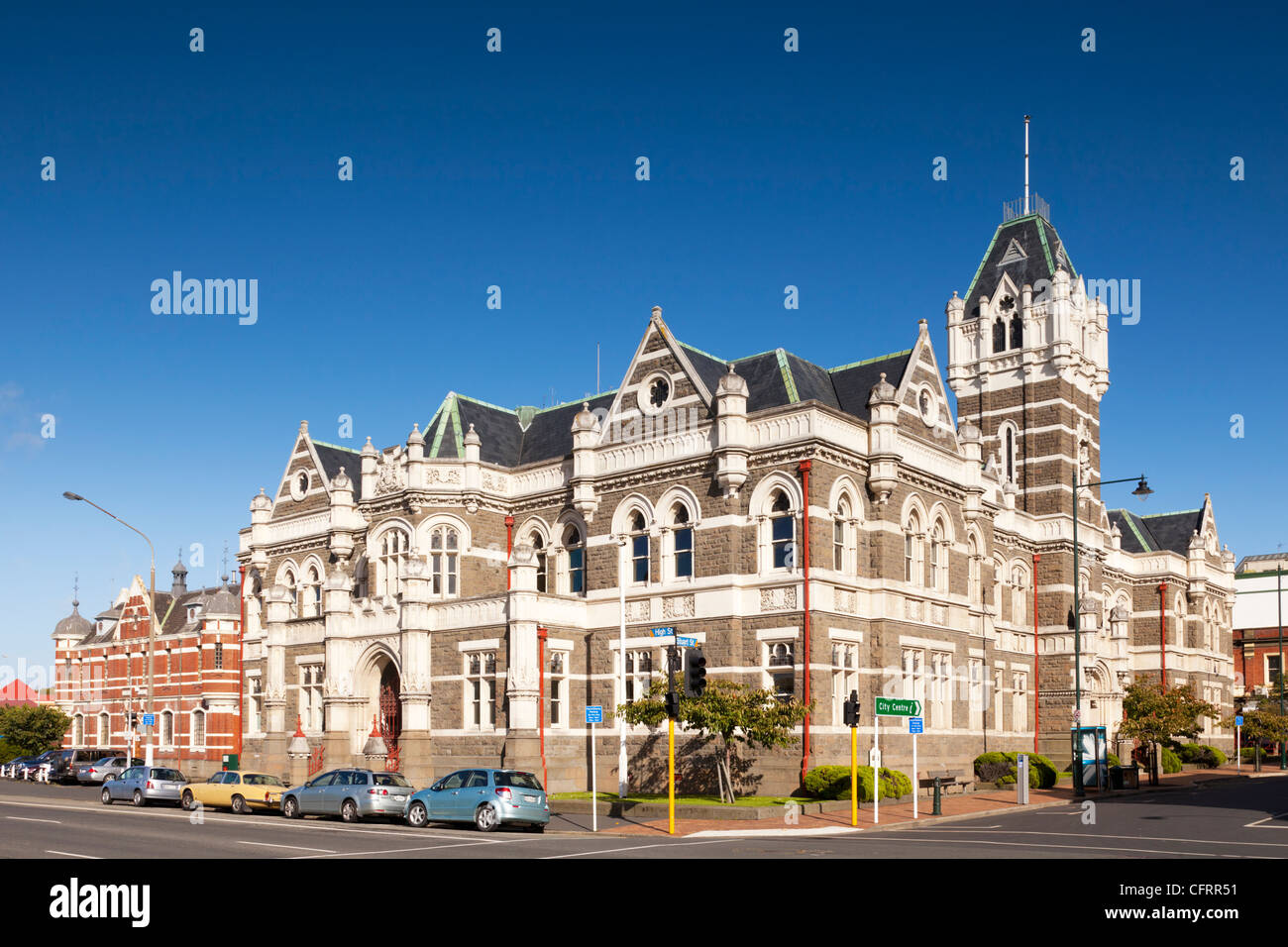 Dunedin Law Court, and beside it on the left, the city's former prison. - Stock Image