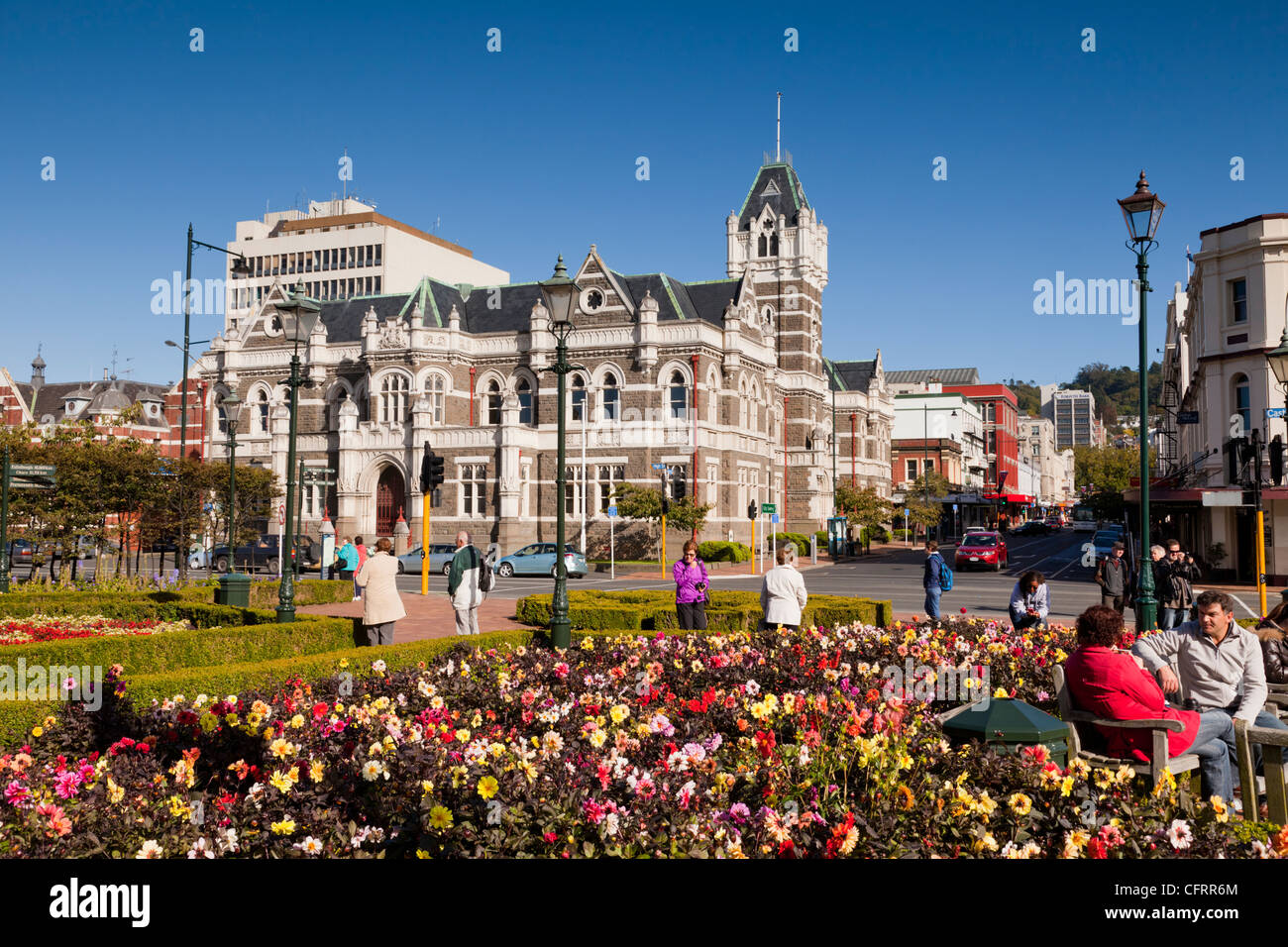 Dunedin Law Court, viewed across Anzac Square, Otago, New Zealand. - Stock Image