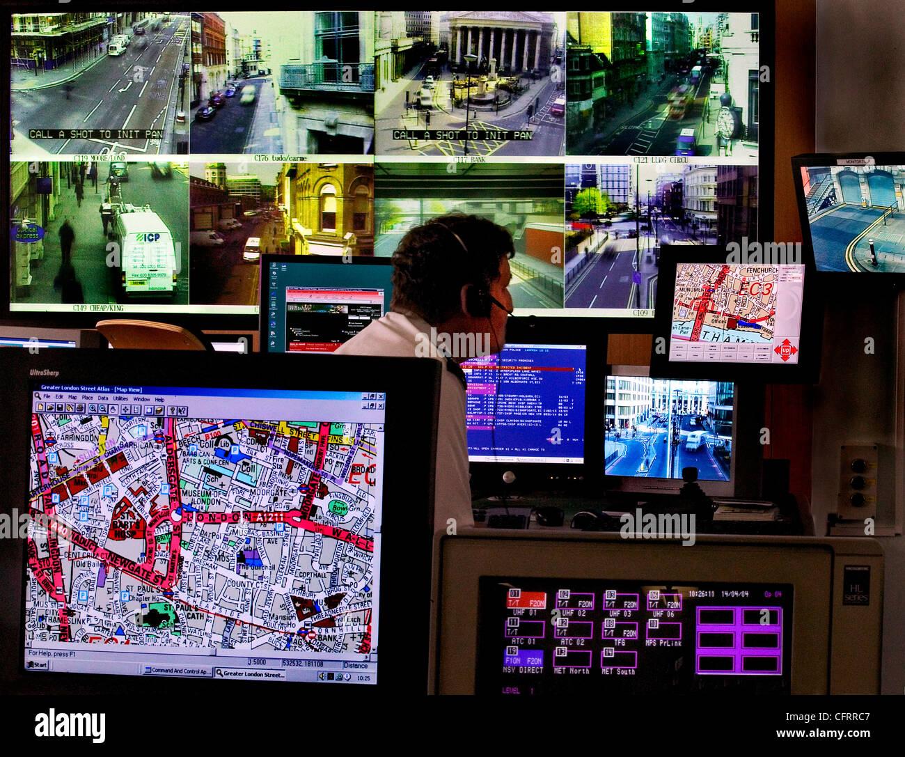 traffic control crime surveillance room - Stock Image