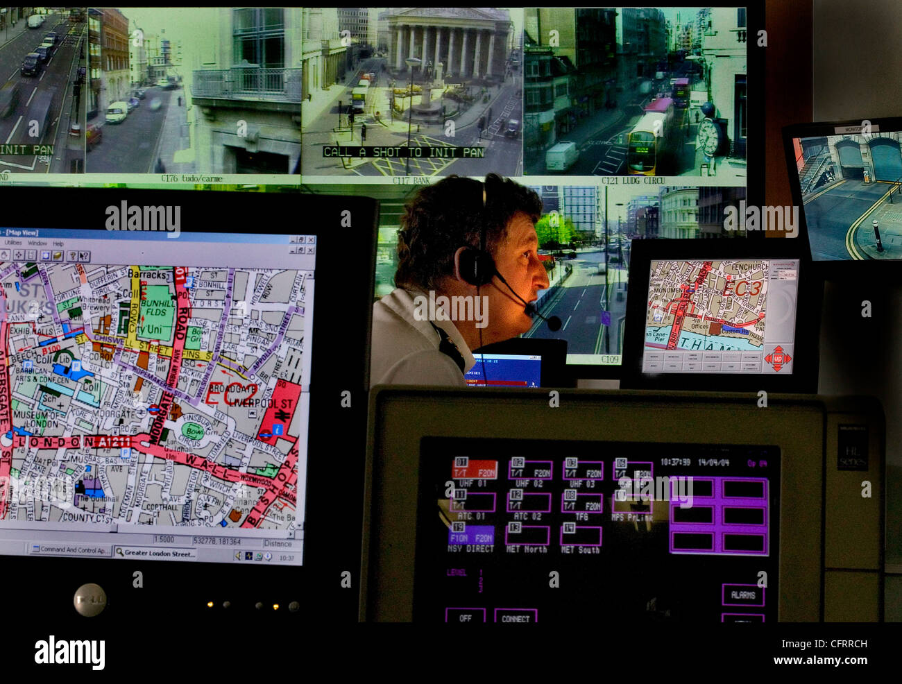 Traffic control crime surveillance room, London, UK - Stock Image