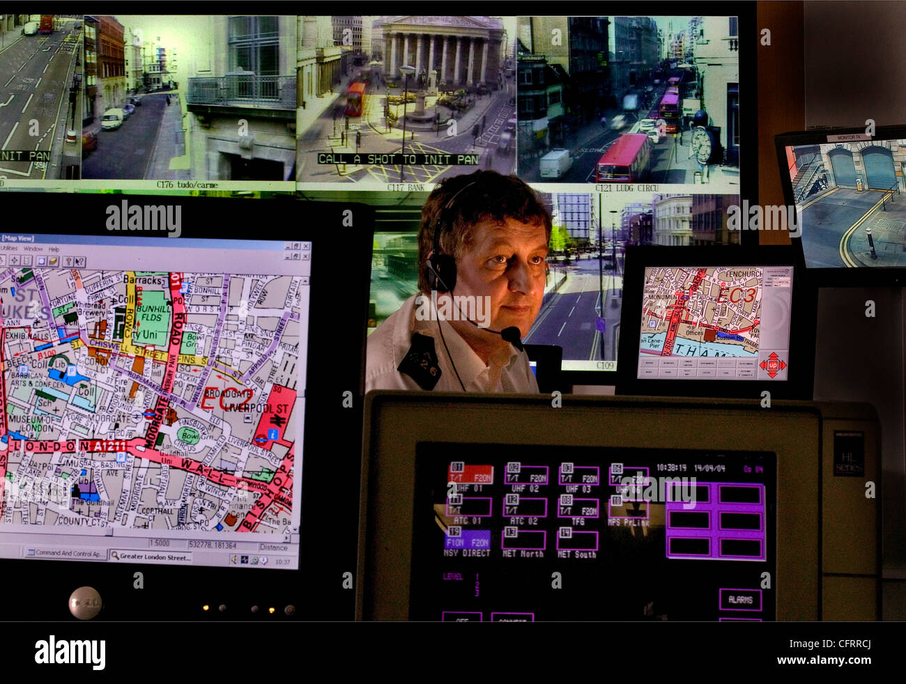 traffic control crime surveillance room - Stock Image