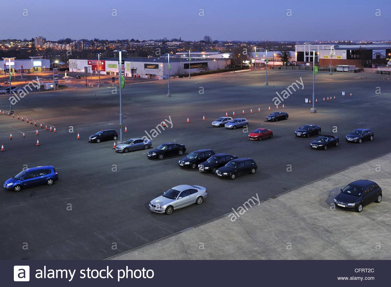 Wembley car and retail park at dusk, London UK - Stock Image