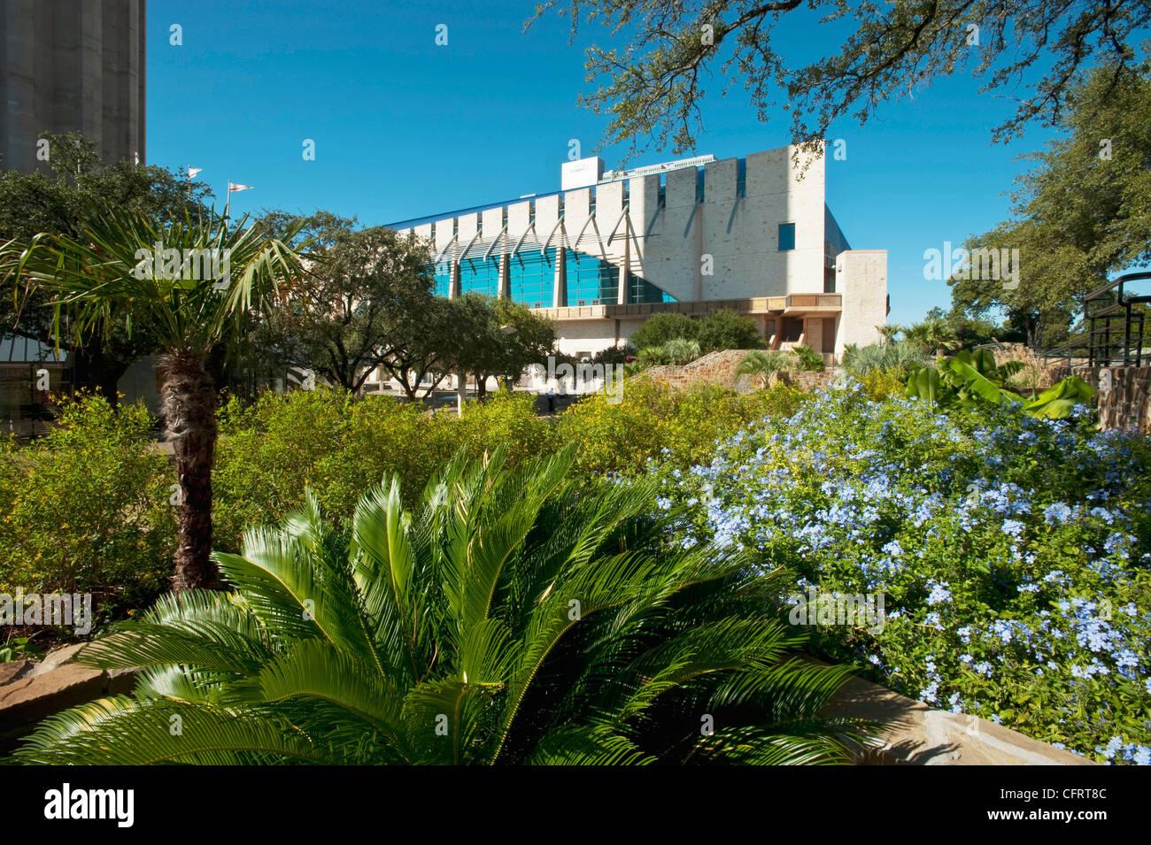 USA, Texas, San Antonio, HemisFair Park, Garden Plants, Flowers Framing  Henry Gonzalez Convention Center.