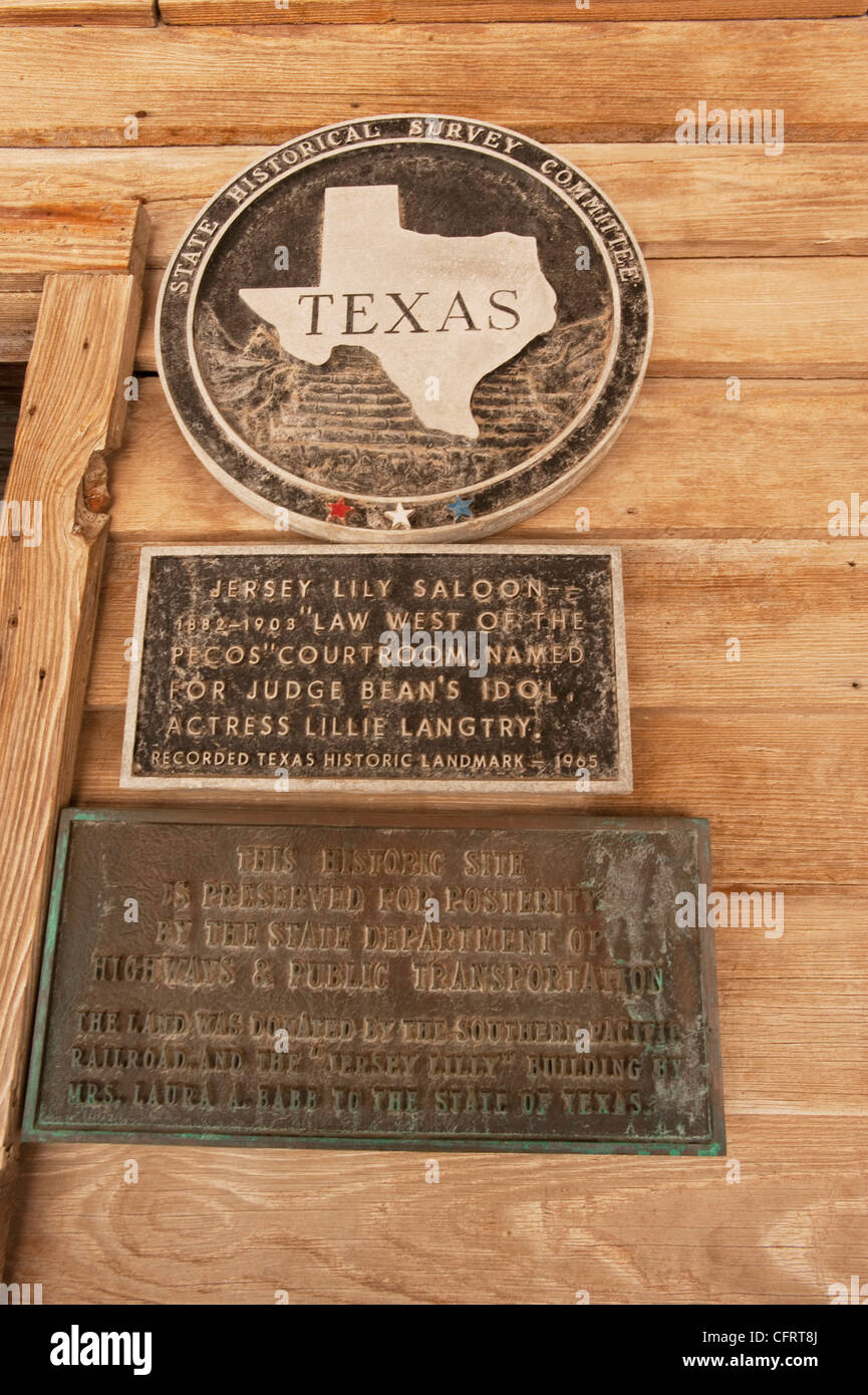 USA, Texas, Langtry, Judge Roy Bean Museum, Law West of the Pecos, Informational Signs. PLEASE CALL FOR SUPER-HI Stock Photo