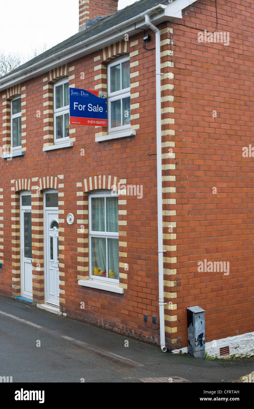 Period semi detached house for sale in Talgarth Powys Wales UK - Stock Image
