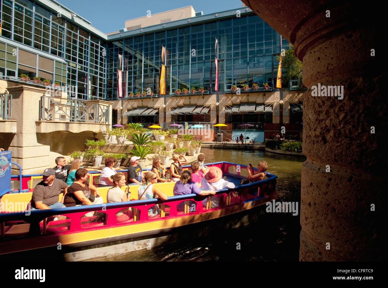 USA Texas San Antonio Riverwalk Gondola With Tourists River Center Mall PLEASE CALL FOR SUPER HI RES FILES