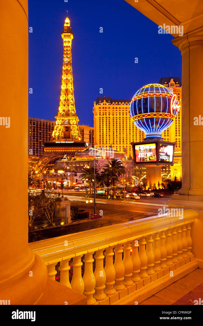 The Paris Hotel at twilight, Las Vegas, Nevada, USA - Stock Image