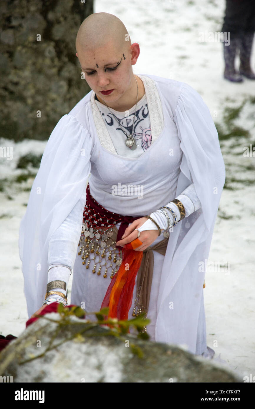 Participant in the Winter Solstice at Stonehenge - Stock Image