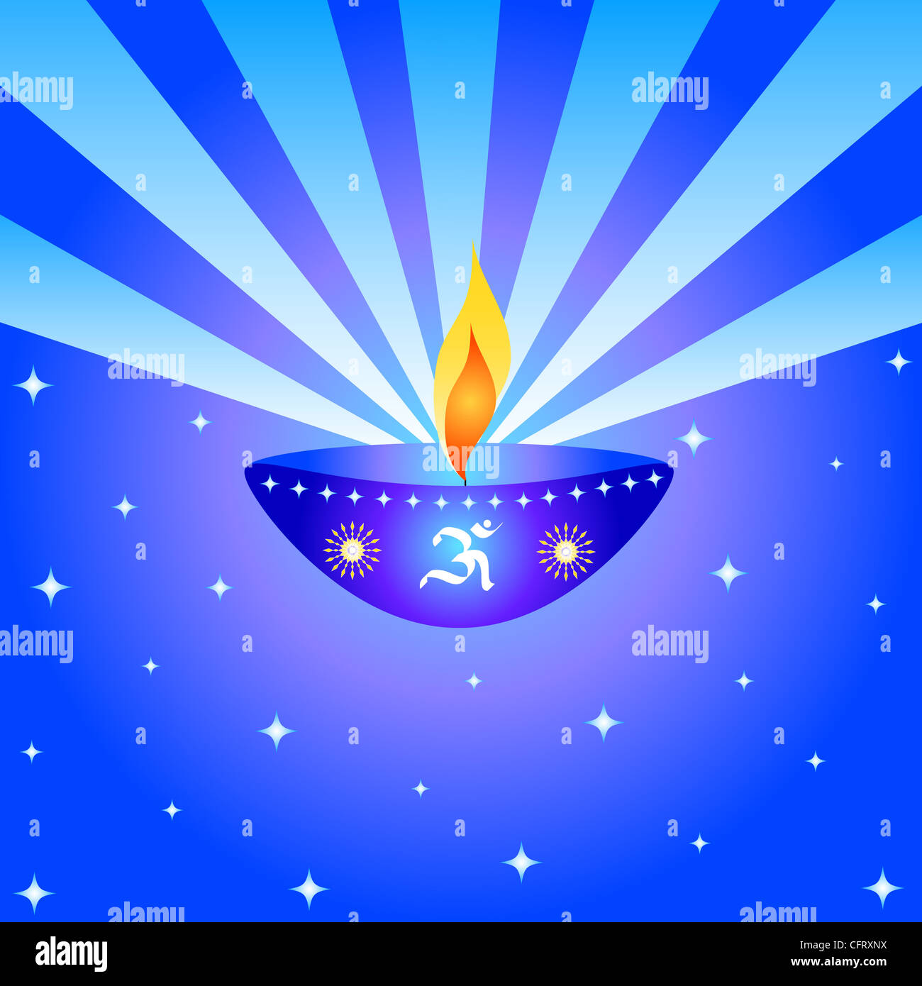 Indian festival Diwali lamp with OM symbol and rays Stock Photo