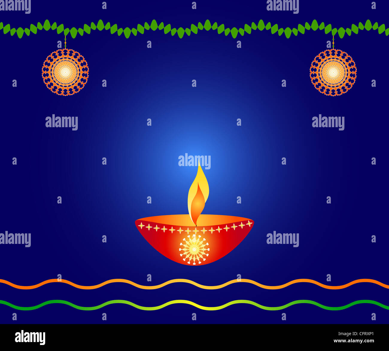 Indian festival Diwali lamp with decoration Stock Photo