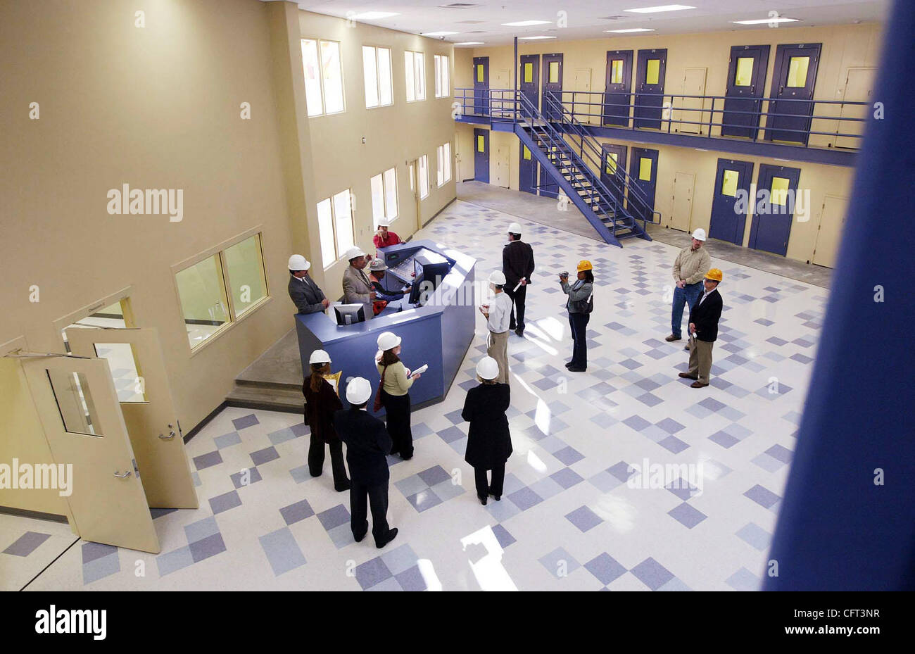 Officials give a tour of the new juvenile hall on Thursday, Dec. 7, 2006, in San Leandro, Calif. The 300-bed facility - Stock Image