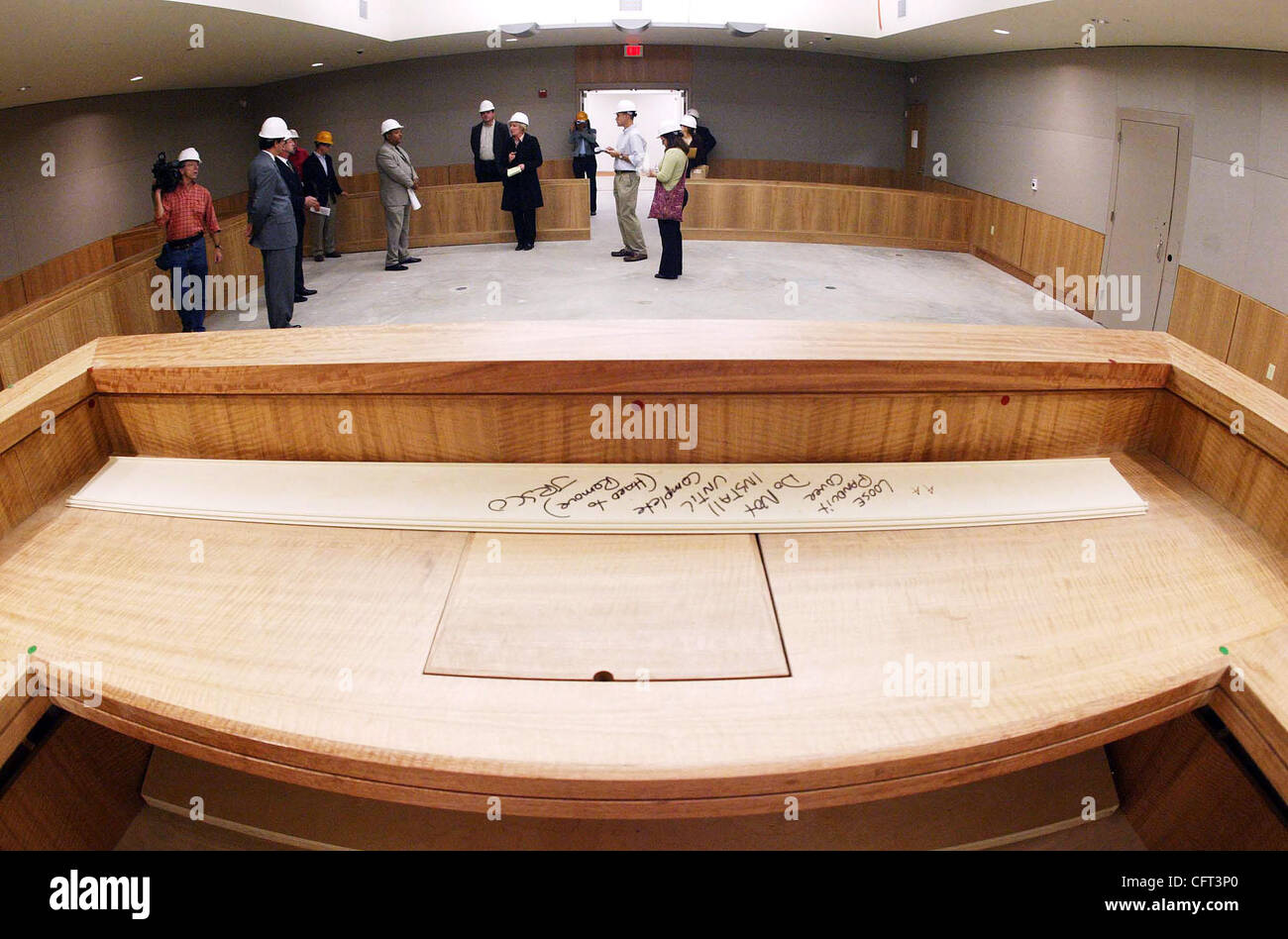 Officials tour one of the courtrooms at the new juvenile hall on Thursday, Dec. 7, 2006, in San Leandro, Calif. - Stock Image