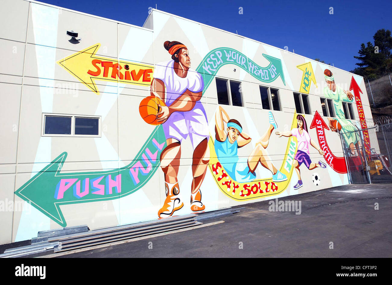 A large mural adorns the outside of the gym at the new juvenile hall on Thursday, Dec. 7, 2006, in San Leandro, - Stock Image