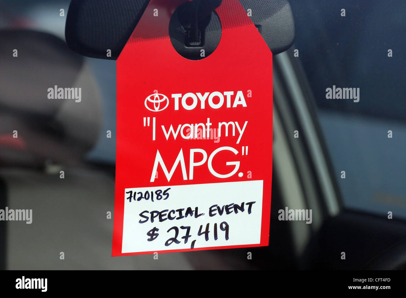 Dec 09, 2006; Santa Monica, CA, USA; A Toyota Prius Hybrid Synergy Drive MPG  For Sale Tag At The Alternative Car And Transportation Expo.