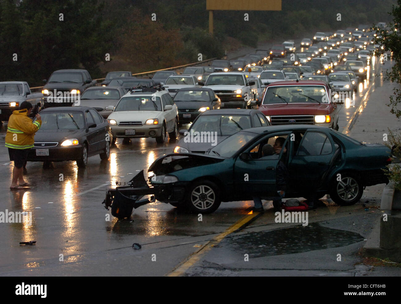 Traffic backs up behind an accident on eastbound Higway 24 in Stock