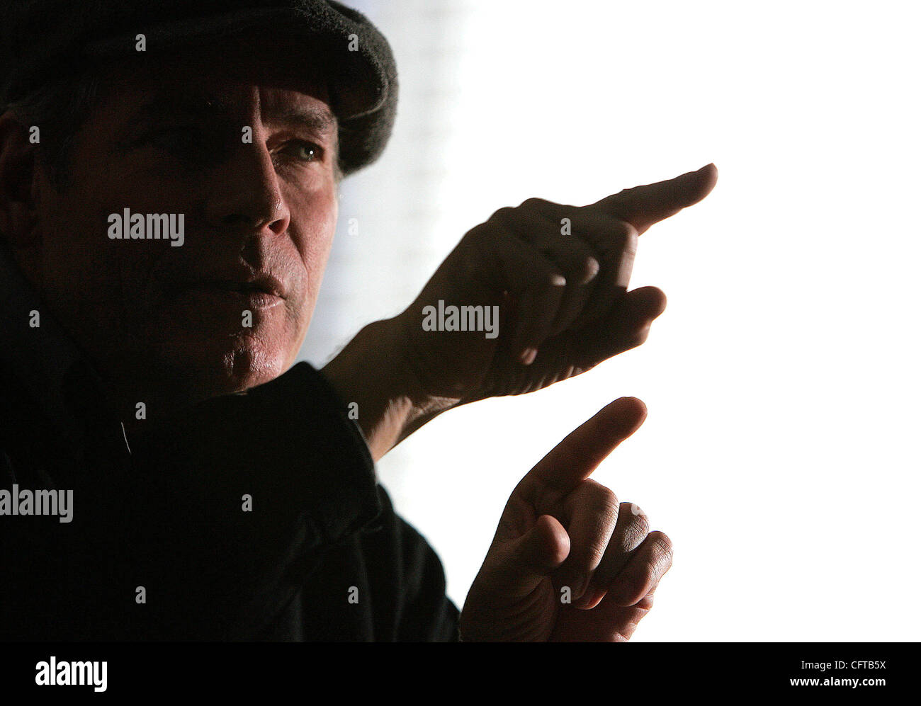 December 28, 2006, San Diego, California, USA_JERRY HAGER talks about his days as the mime 'Kazoo' at Seaport - Stock Image