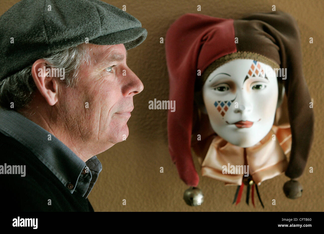 December 28, 2006, San Diego, California, USA_JERRY HAGER for years has been the mime character 'Kazoo' - Stock Image