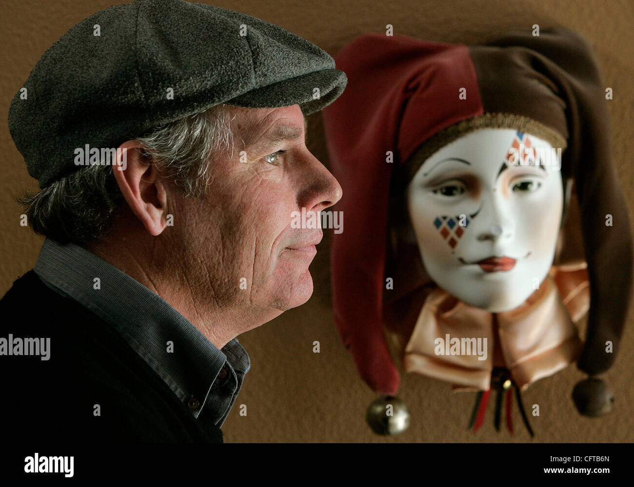 December 28, 2006, San Diego, California, USA_USA_JERRY HAGER for years has been the mime character 'Kazoo' - Stock Image