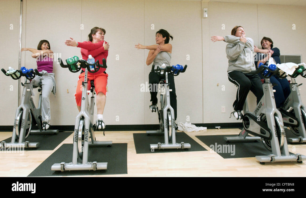 Members of the Spinning class at the Delta Family YMCA in