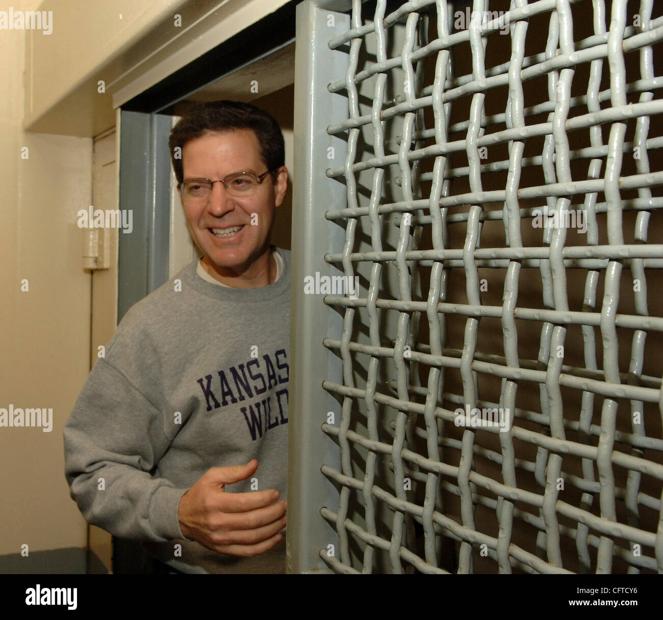 Sen. Sam Brownback (R-Kansas) announcing his presidential bid today. Jan 6 2007. A strong supporter of prison reform, - Stock Image