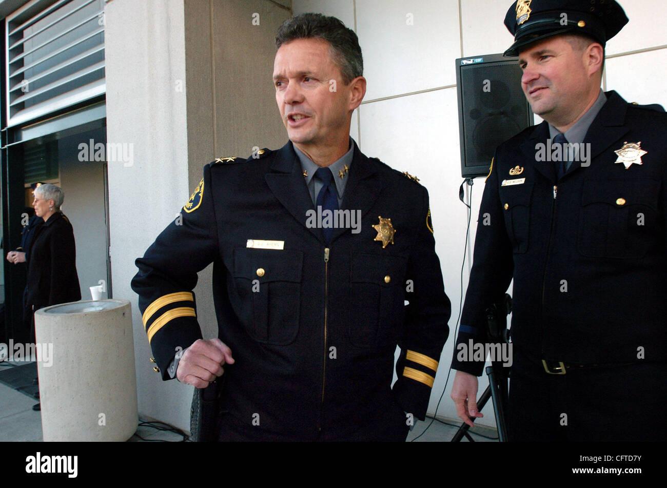 Incoming Alameda County Sheriff Greg Ahern (left) was one