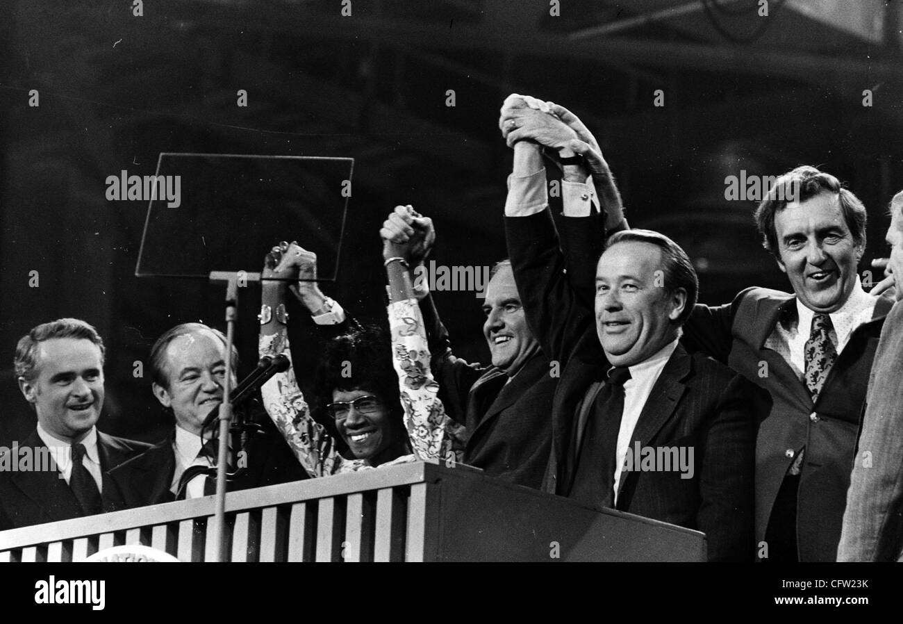(left to right) Thomas Eagleton, Hubert Humphrey, Shirley Chisholm, presidential nominee George McGovern, Henry Jackson, and Edmund Muskie are shown at the 1972 Democratic National Convention in Miami, Florida. Minneapolis Tribune (now Star Tribune) photo by Earl Seubert. Stock Photo