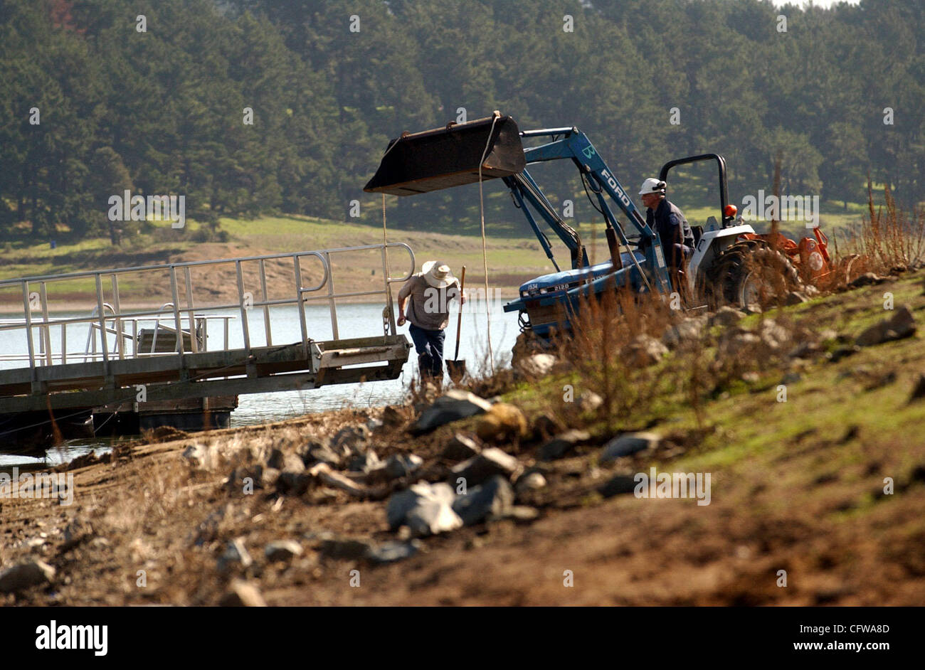 The San Pablo Reservoir in San Pablo, Calif., gets spruced up on Wednesday, Feb. 14, 2007, in preparation for Friday's - Stock Image