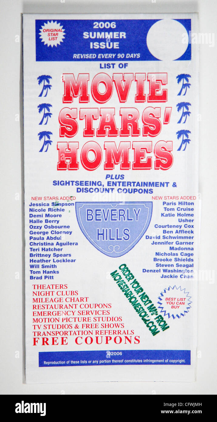 Feb 27, 2007; Los Angeles, CA, USA; Movie Star Maps of ... Celebrity Star Map on star home map, famous star map, red star map,