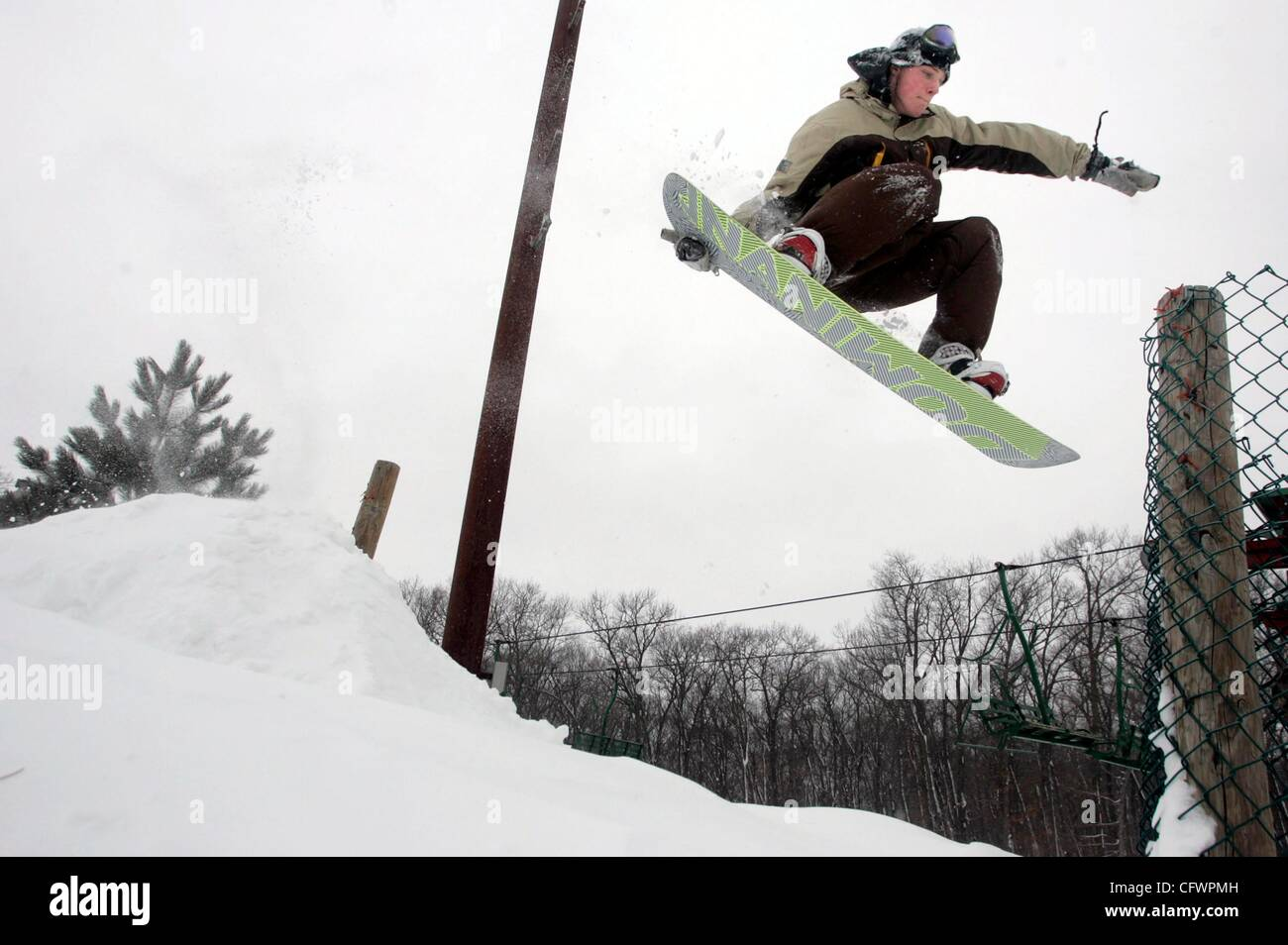 Mar 02, 2007 - Taylors Falls, MN, United States - SEAN MUSSETTER, 19, of St. Paul, MN worked on his jumps at Wild Stock Photo