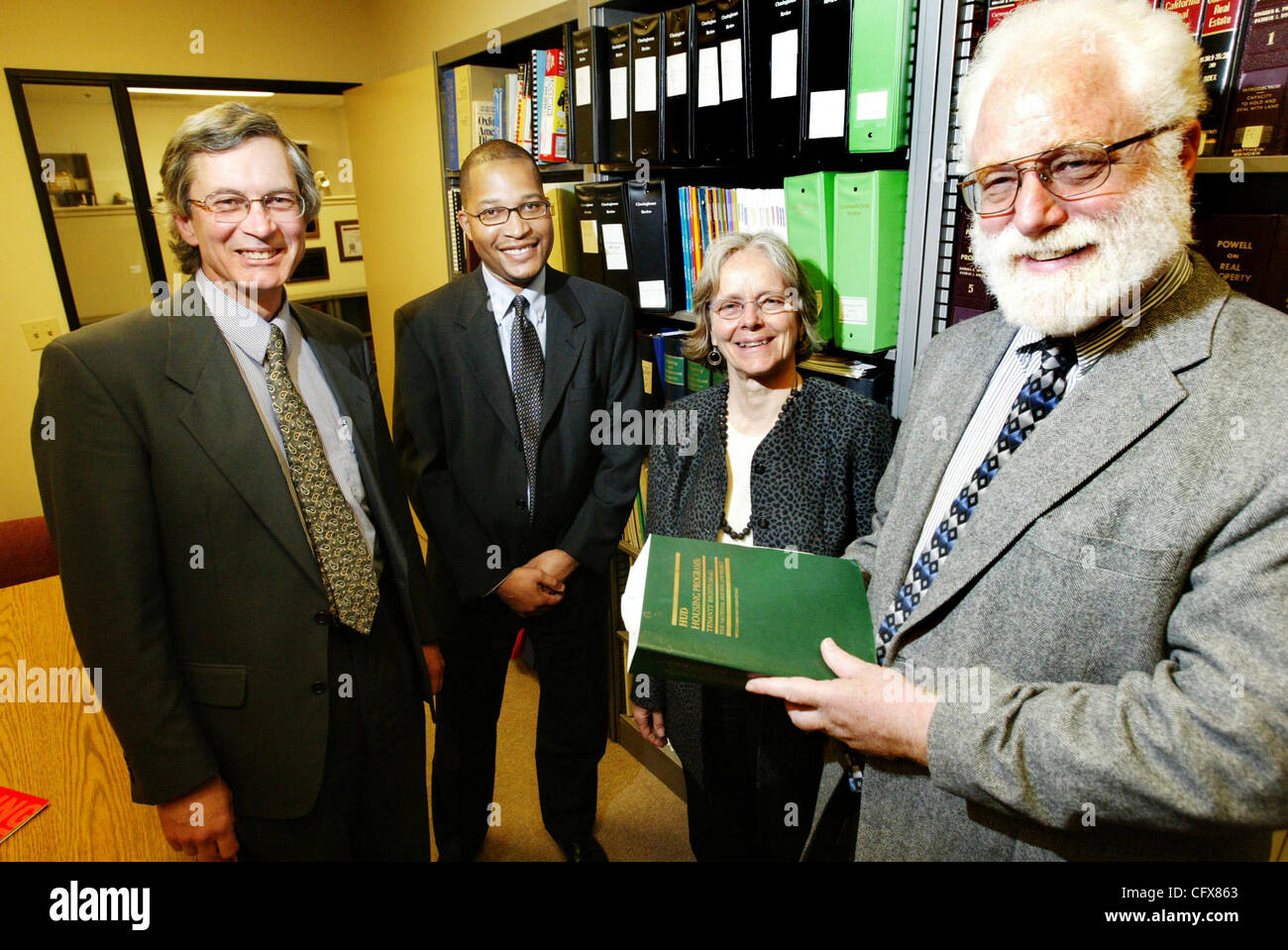 National Housing Law Project Attorneys Jim Grow, left, Alaric degrafinried, Catherine Bishop and executive director - Stock Image