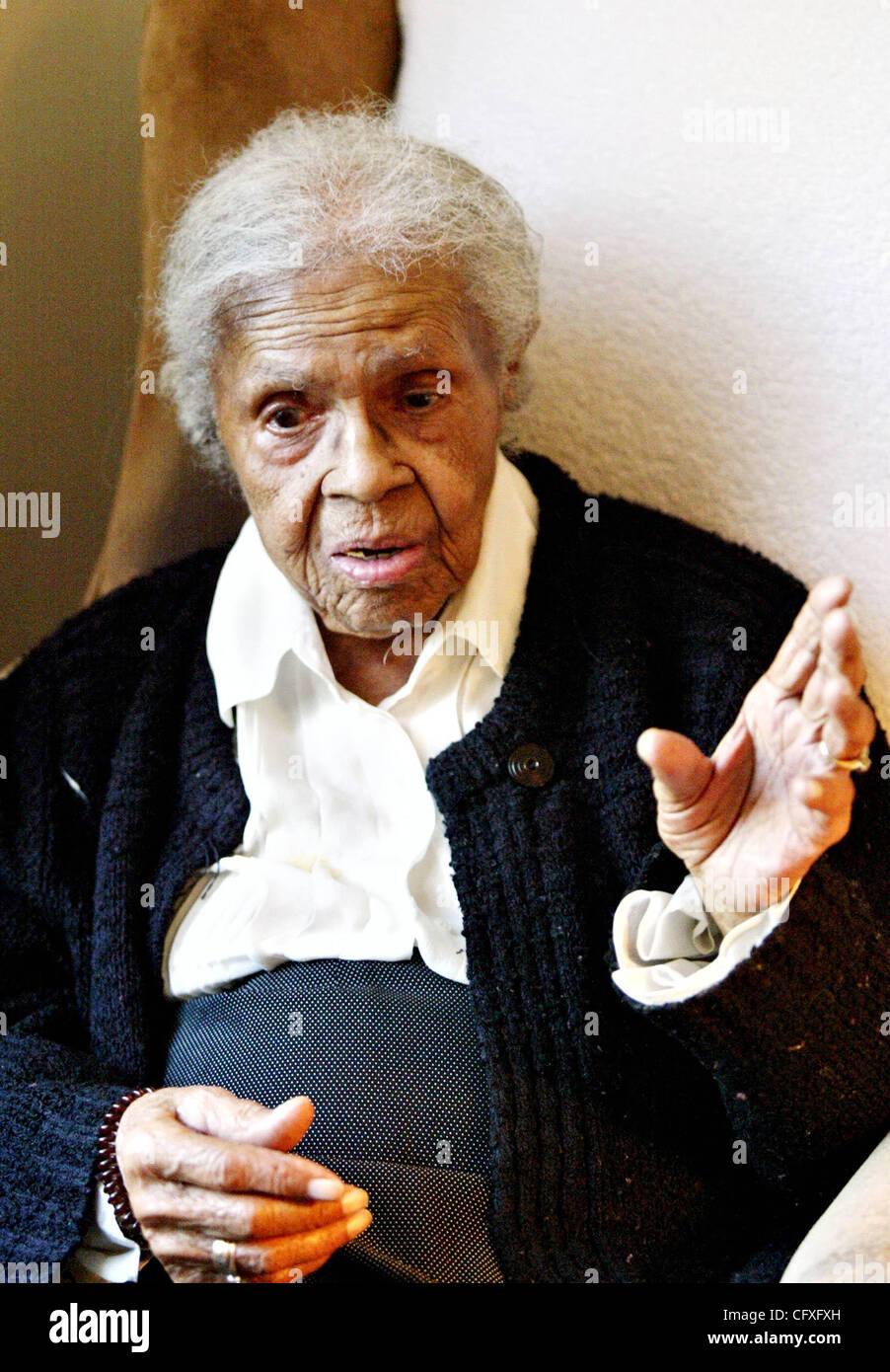 Apr 12, 2007 - Oakland, CA, USA - JOSEPHINE DUKES who is 105 years old, is currently a resident at the Matilda Brown - Stock Image