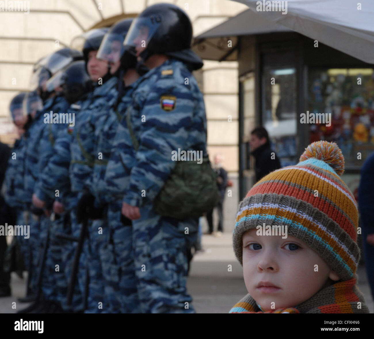 2d7630debd6 Riot police OMON arresting participants of the `Dissenters` March in  St.Petersburg.