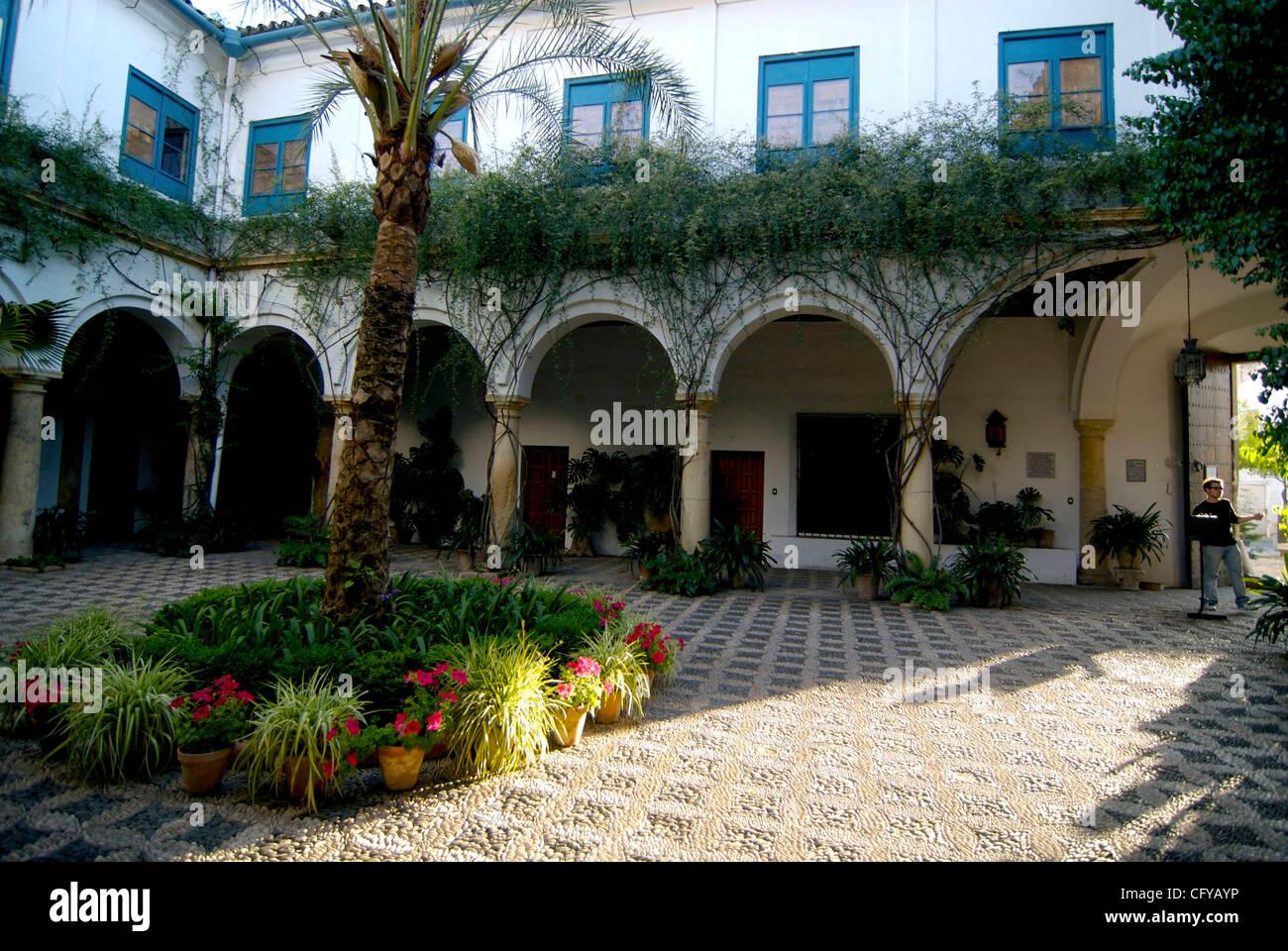 Festival De Patios Cordobeses. Palacio De Viana, Patio De Las Flores En  Cordoba. Potted Plants Cover The Enclosing Walls Of A Patio. Cordoba, Spain.