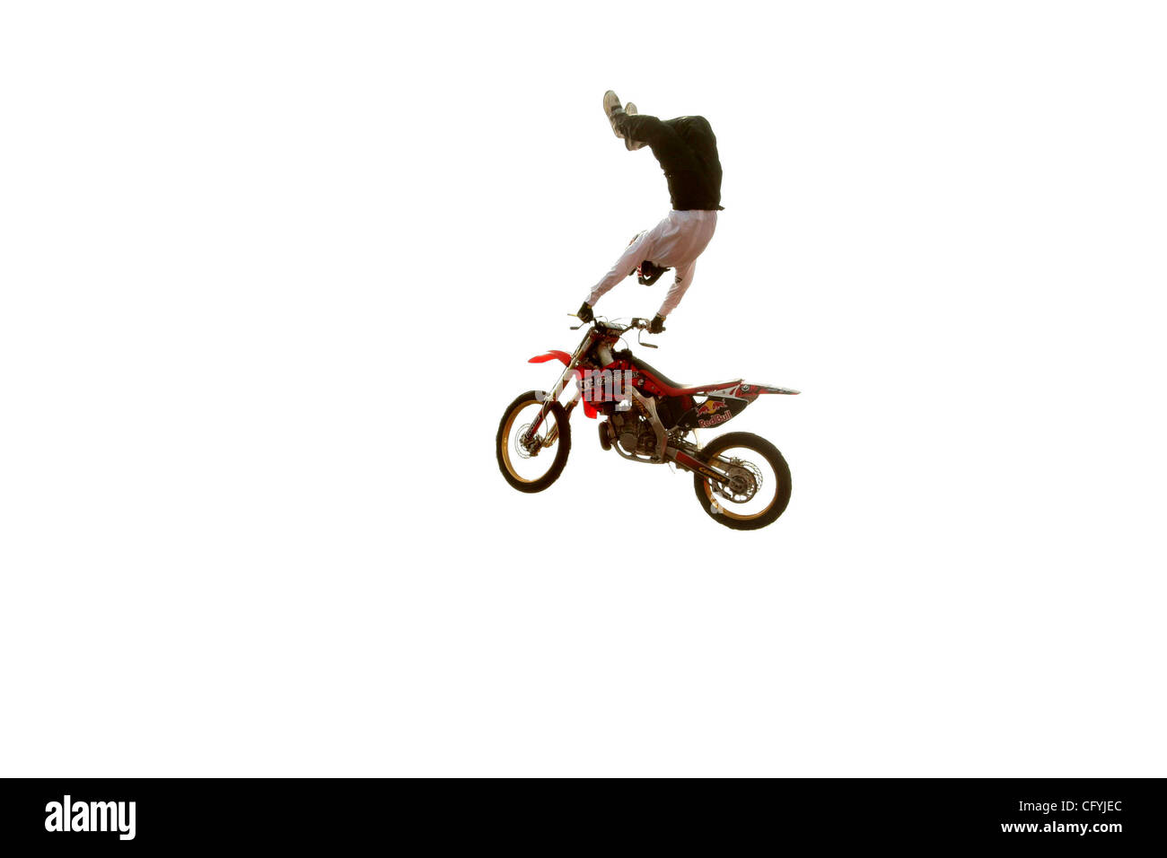 May 20, 2007; Hollywood, California, USA;  Freestyle Motorcross/Stuntman ROBBIE MADDISON riding his motorbike over - Stock Image