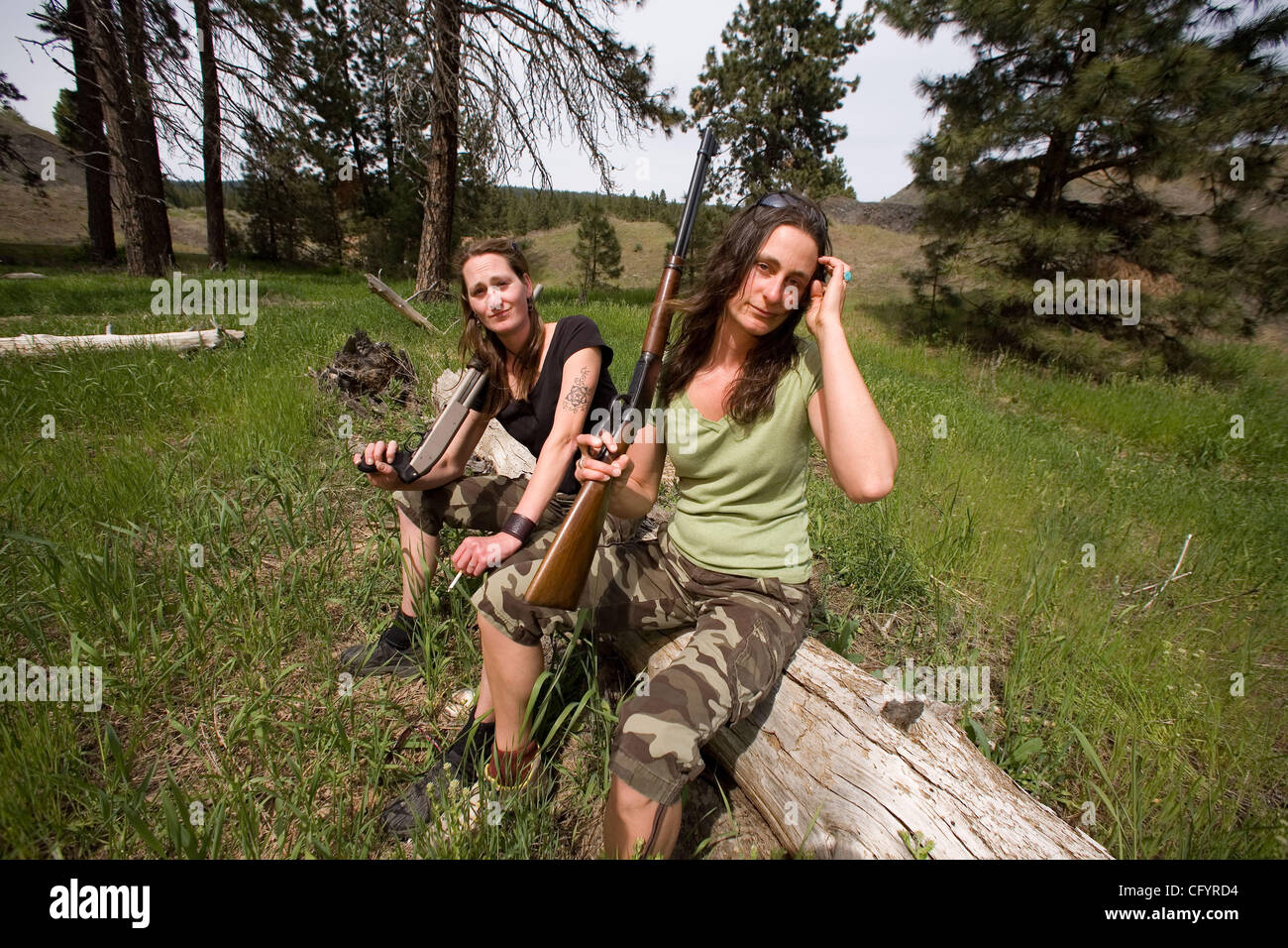 Roslyn,WA. While out and about in the back country  of eastern WASHINGTON, you may cross paths with a pair you hadn't - Stock Image
