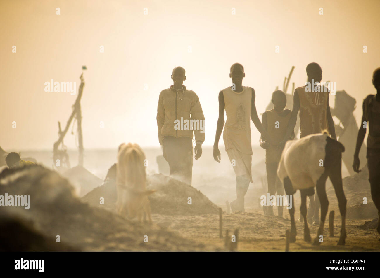 Jul. 11, 2007 - Kolmerek, South Sudan - For countless generations, cattle has played a central role in the life - Stock Image