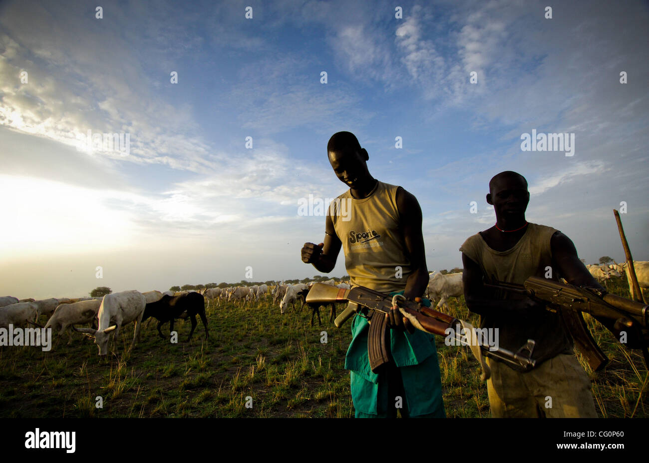 Jul 11, 2007 - Kolmerek, South Sudan - Sudan cattle camps are the most important aspect in the culture of the Dinka, - Stock Image