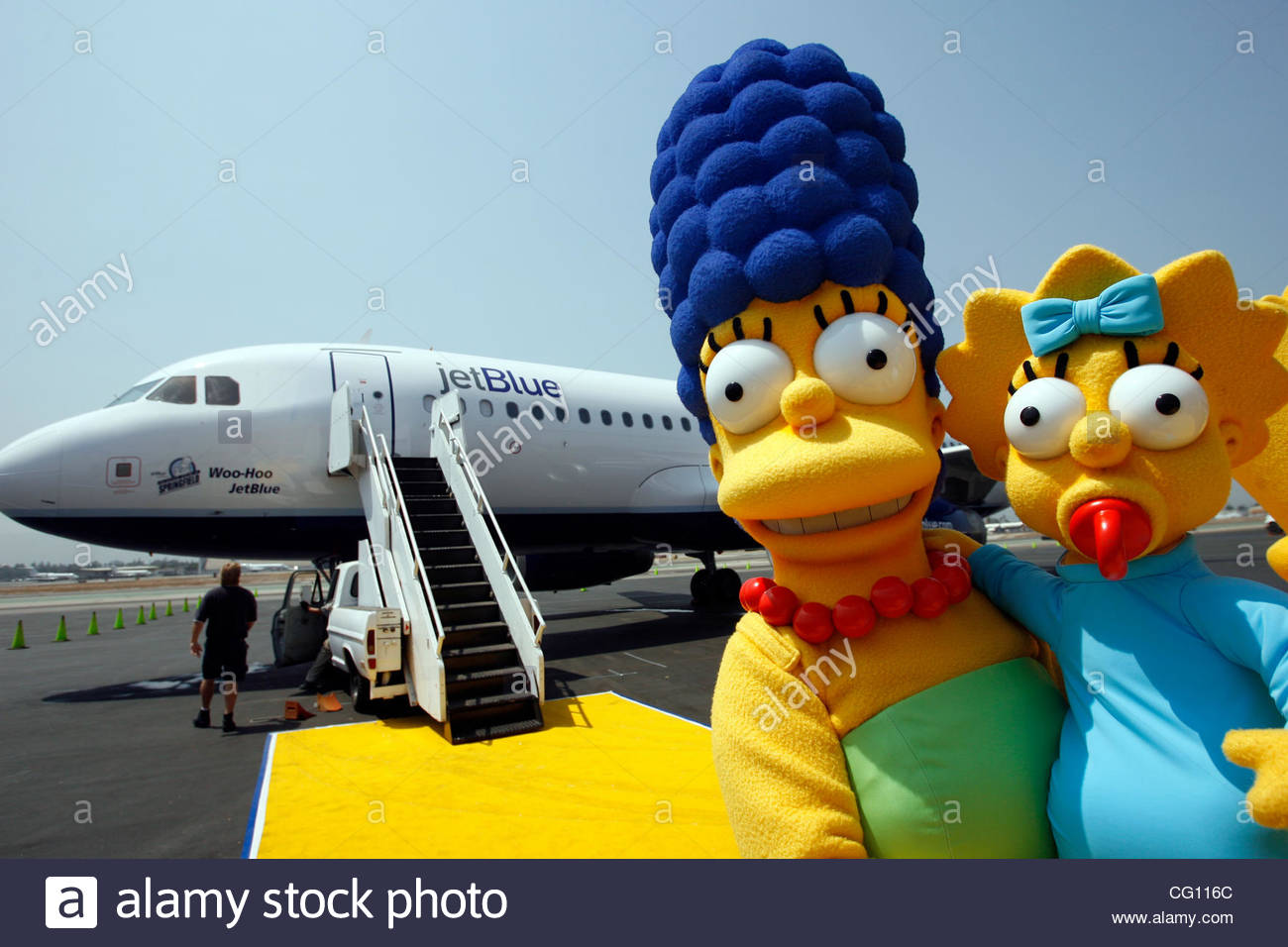 Characters From The Simpsons Movie Marge And Maggie Pose For Stock Photo Alamy