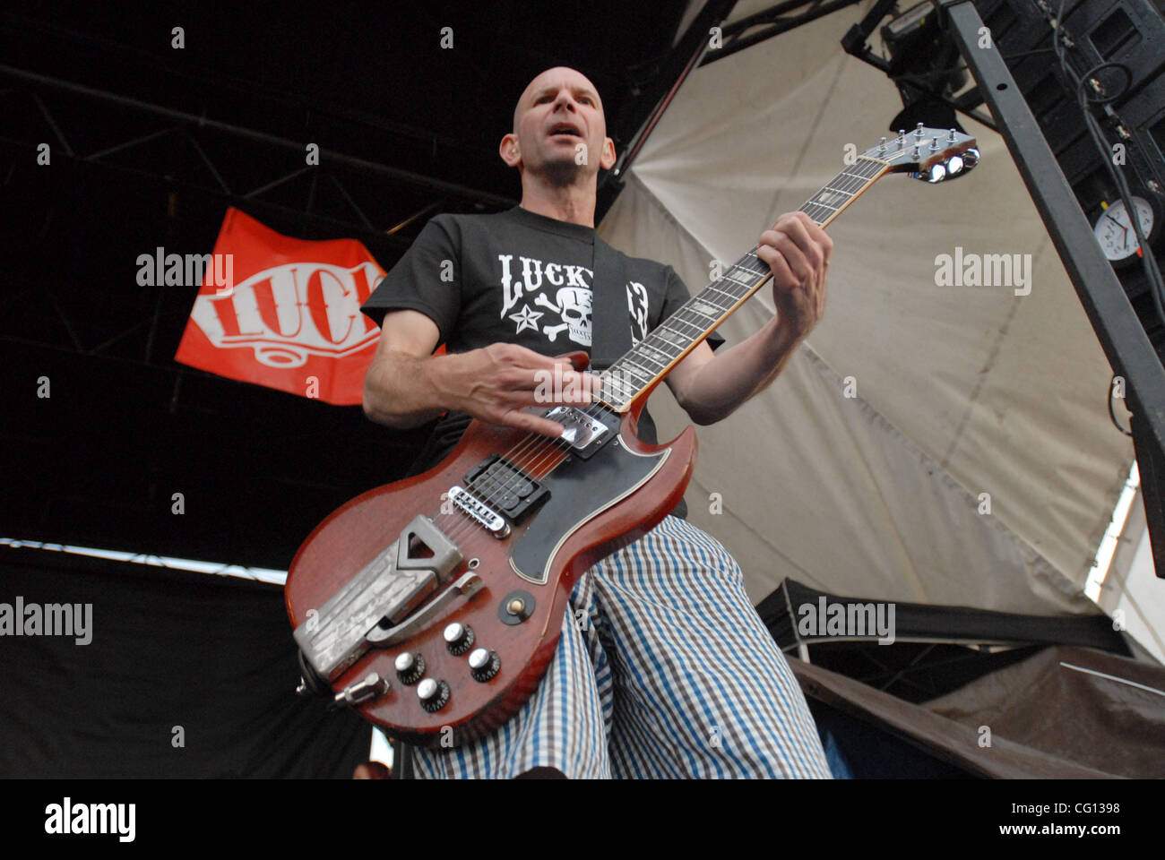 Jul. 23, 2007; Charlotte, NC USA; Guitarist GREG HETSON of the band BAD RELIGION performs live as part of the 13th - Stock Image
