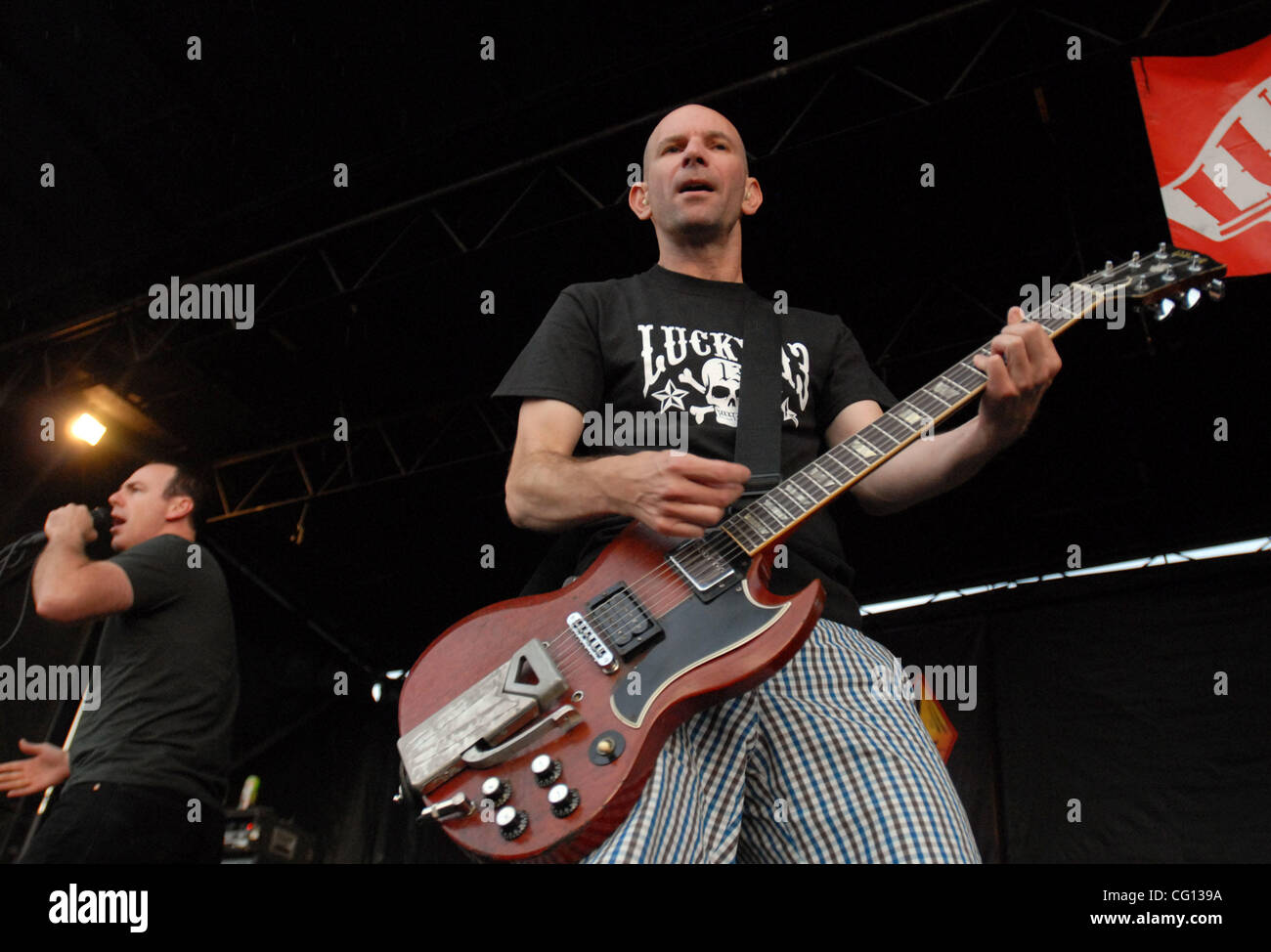 Jul. 23, 2007; Charlotte, NC USA; Singer GREG GRAFFIN and Guitarist GREG HETSON of the band BAD RELIGION performs - Stock Image