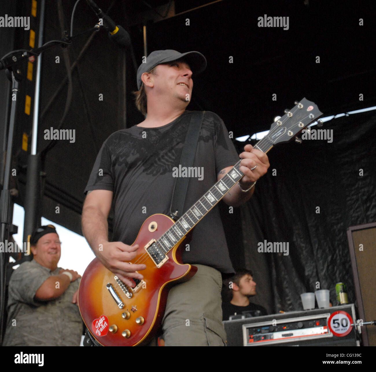 Jul. 23, 2007; Charlotte, NC USA; Guitarist BRIAN BAKER of the band BAD RELIGION performs live as part of the 13th - Stock Image