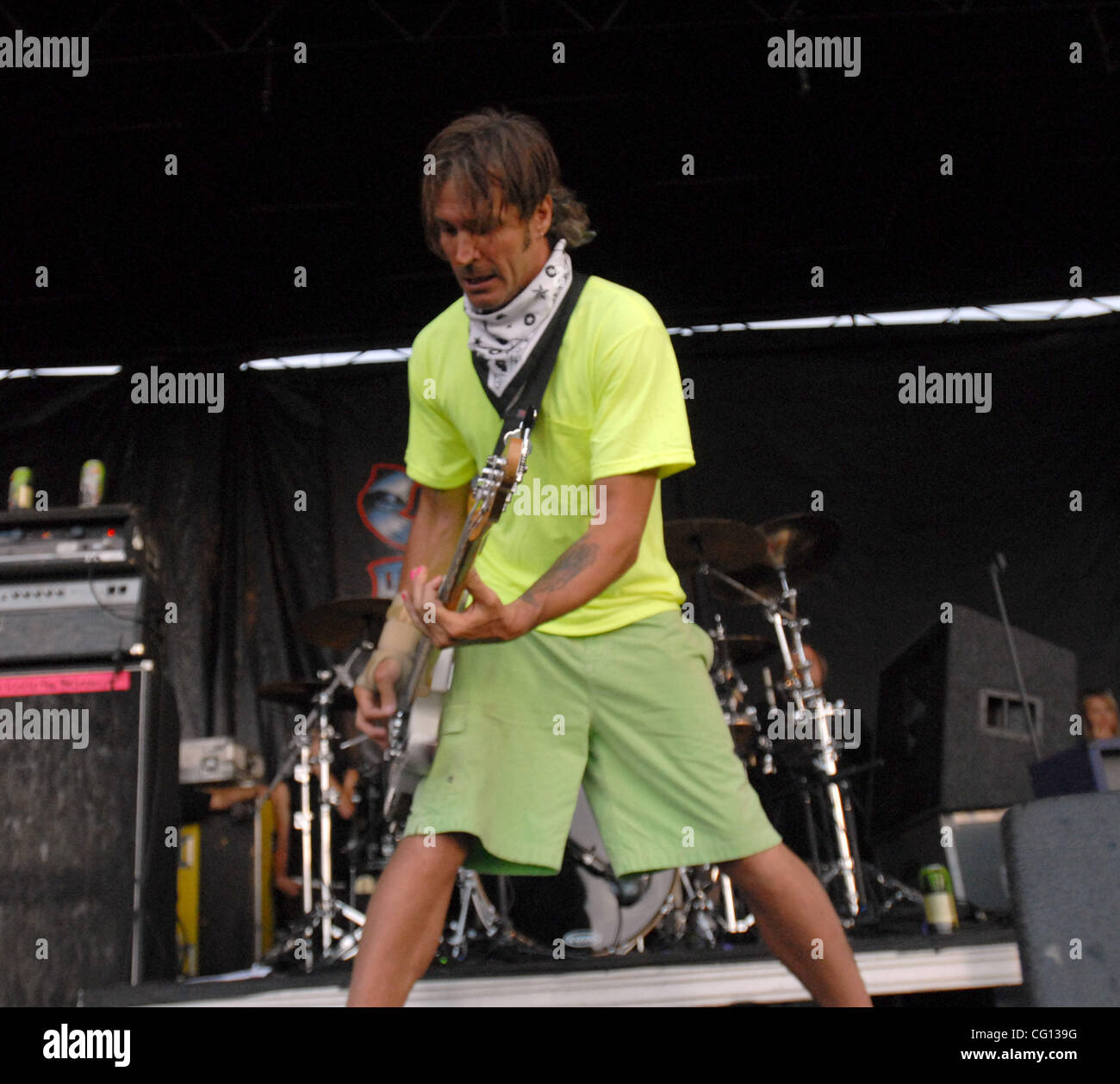 Jul. 23, 2007; Charlotte, NC USA;  Bass Guitarist JAY BENTLEY of the band BAD RELIGION performs live as part of - Stock Image