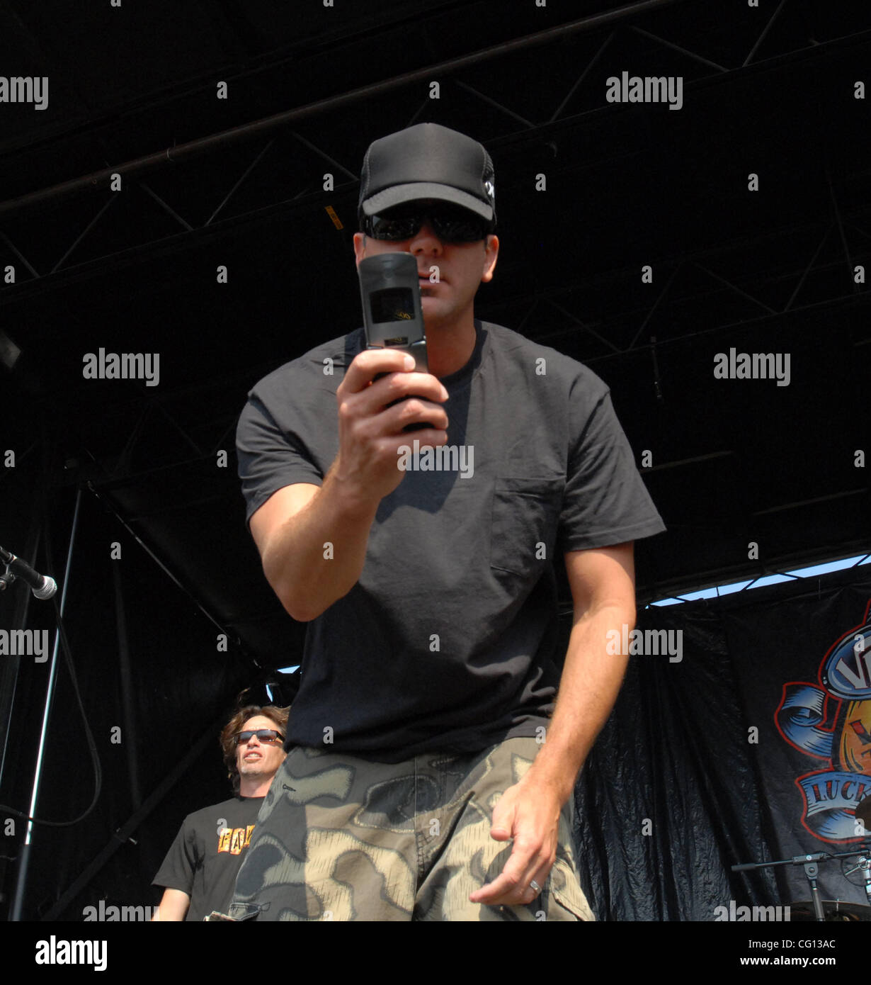 Jul. 23, 2007; Charlotte, NC USA; Singer JIM LINDBERG of the band PENNYWISE performs live as part of the 13th annual - Stock Image