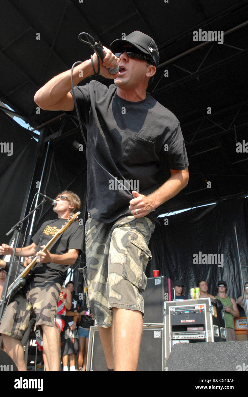 Jul. 23, 2007; Charlotte, NC USA; Singer JIM LINDBERG of the band PENNYWISE performs live as part of the 13th annual Stock Photo