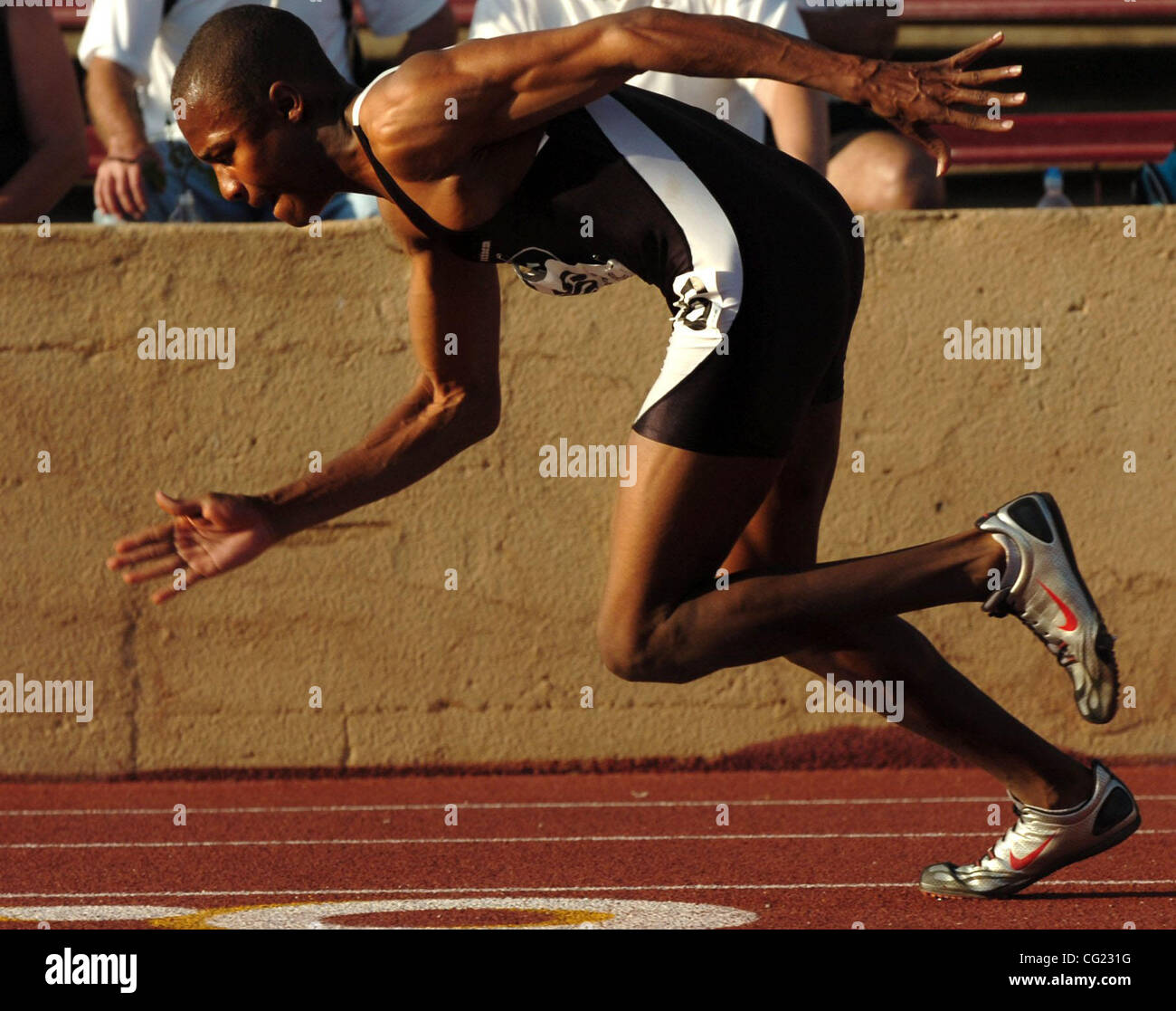 Roman Gray, of Laguna Creek High School, got off to a good start during the Mens 400 meters competition and finist - Stock Image
