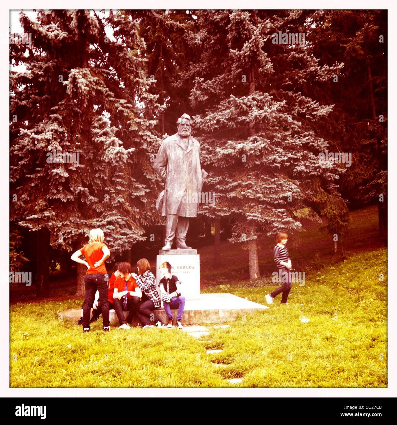 Aug. 11, 2011 - Prague, Czech Republic - Statue of Karel Hynek Macha, revered Czech poet of the Romantic era, mostly - Stock Image