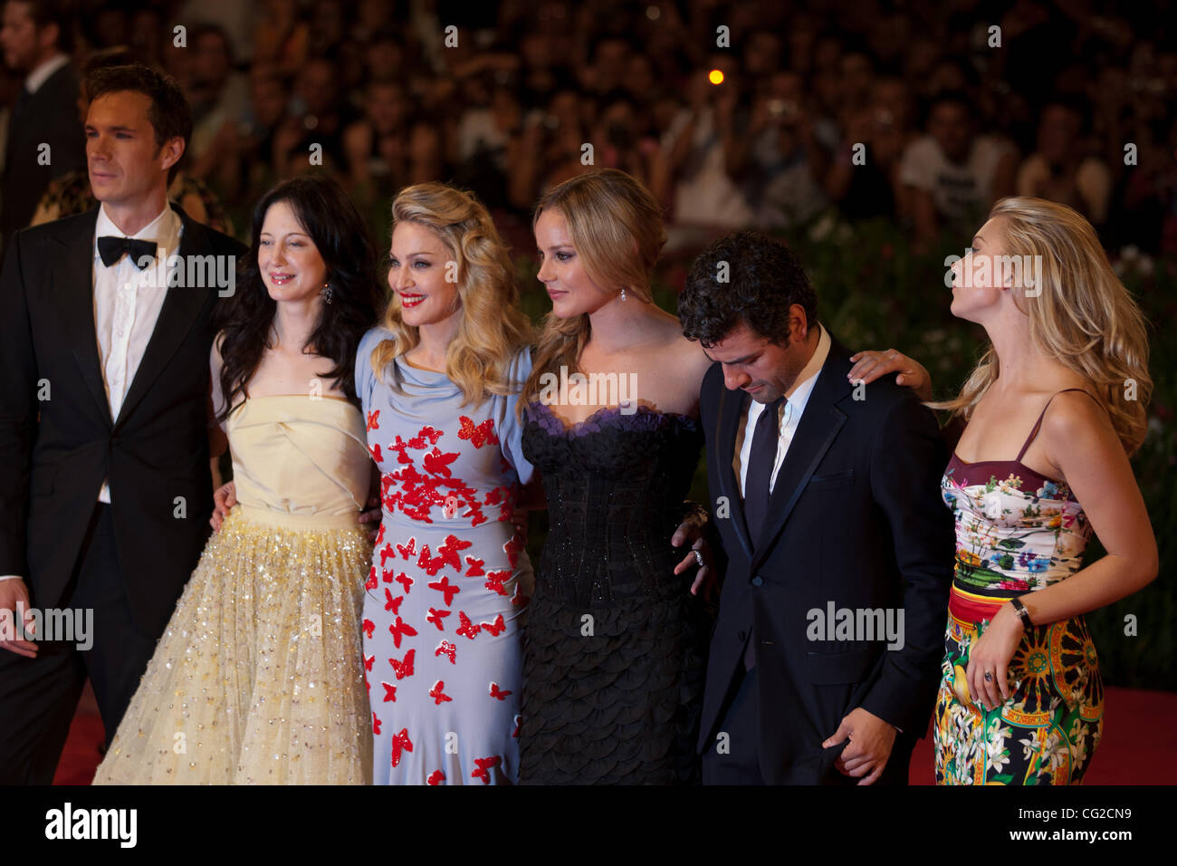 Sept  1, 2011 - Venice, Italy - Madonna with the cast of her movie