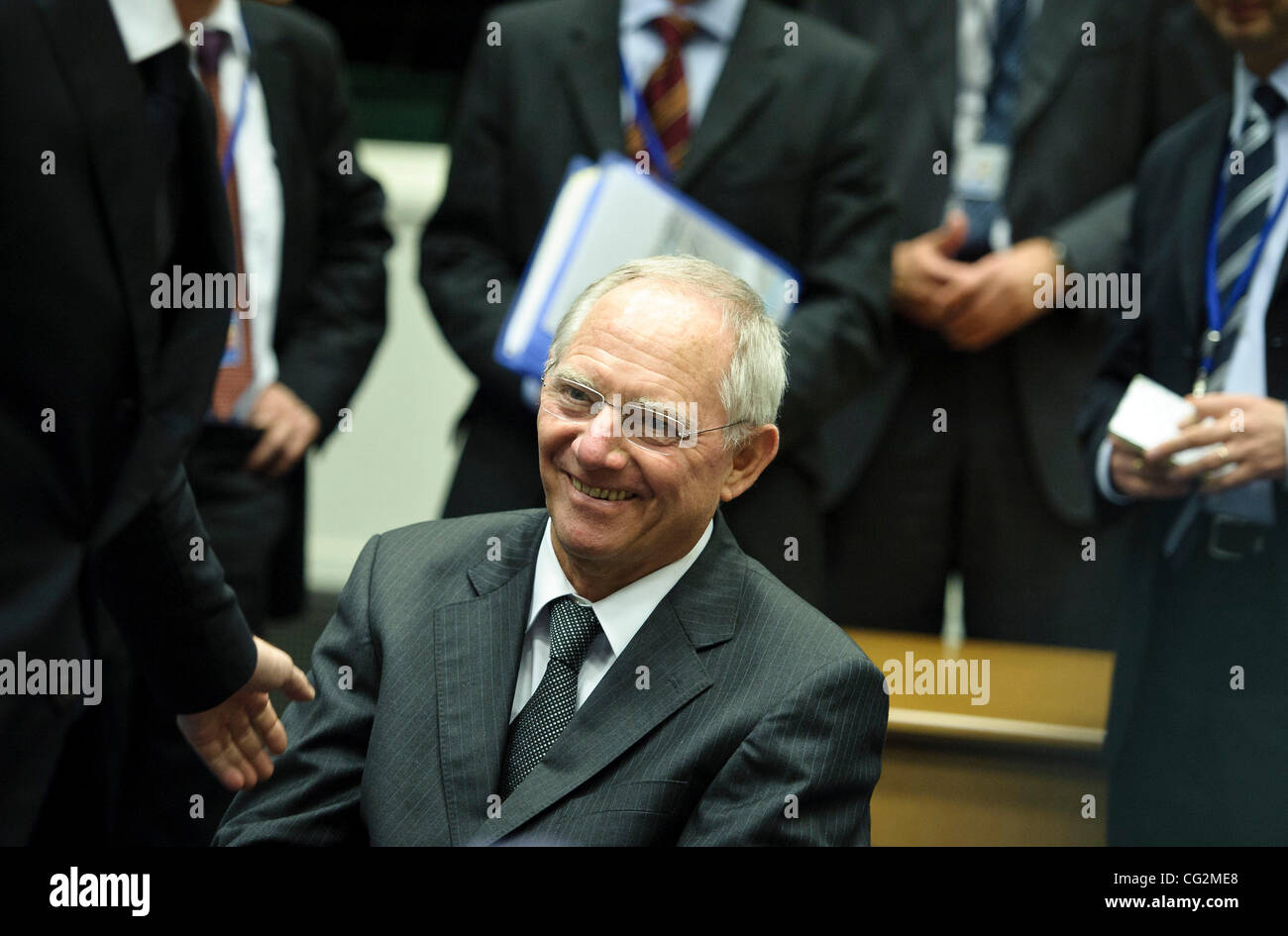 Oct. 3, 2011 - Luxembourg, LUX, Luxembourg -  German Finance Minister Wolfgang Schaeuble   prior to the Eururogroup - Stock Image
