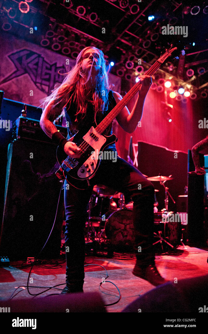 October 4, 2011 - Chicago, IL, USA - Evan Linger, bassist of the Ohio thrash metal band Skeletonwitch, performs - Stock Image